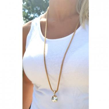 Zlatý řetízek se stříbrnou perličkou