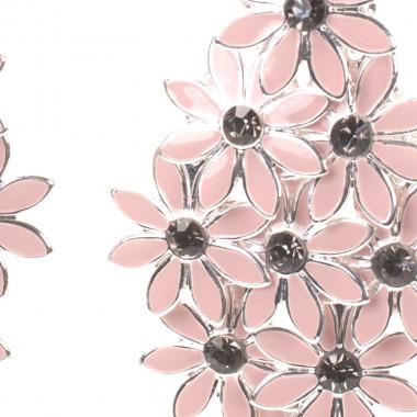 Visací růžové náušnice s kytičkami