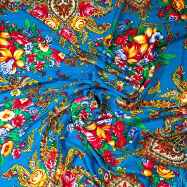 Dlouhý šátek čtvercový třásně ruský vzor 9D1-121603