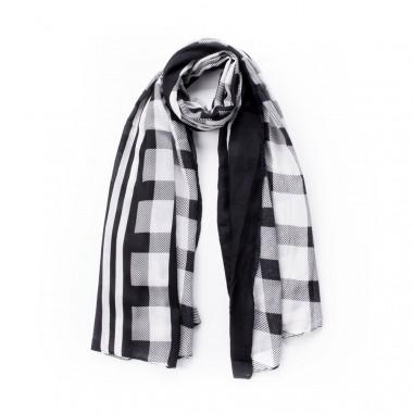 Dlouhý kostkovaný šátek černá & bílá 180/100