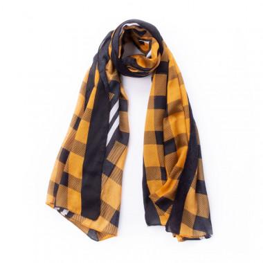 Dlouhý kostkovaný šátek žlutá & bílá 180/100