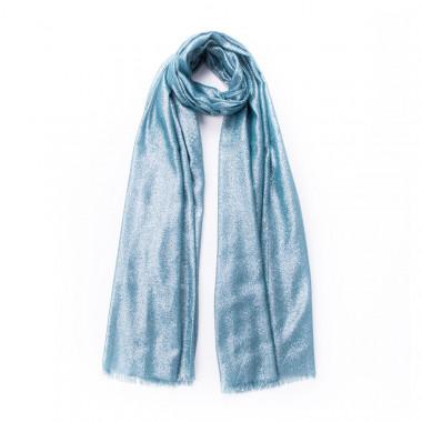 Elegantní šátek přes ramena s lesklou nití tyrkys 200/70