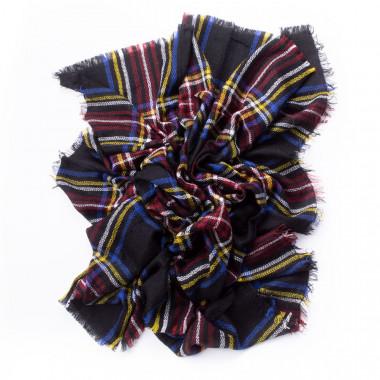 Zimní šála s károvaným vzorem black style 140/140