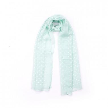 Malý šátek na krk zelený se srdíčky 140/35