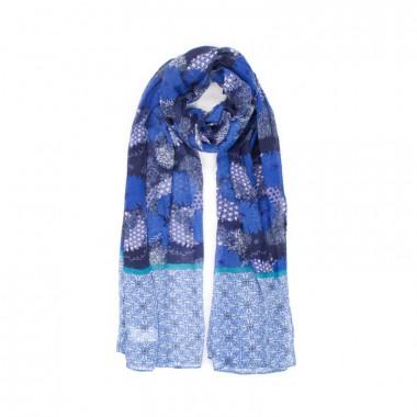 YSTRDY Dlouhý šátek s modrým motivem 190/80