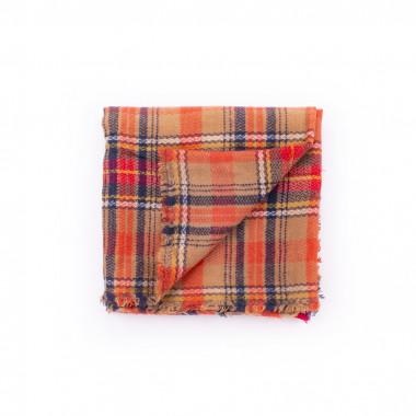 Maxi šála deka karovaný desén orange 140/140