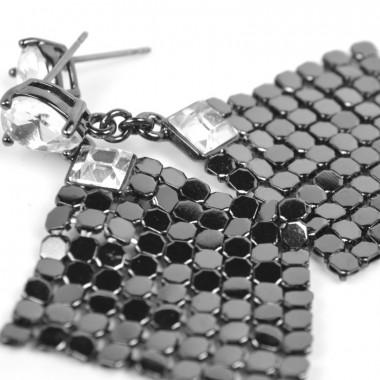 X   náušnice / čtverec z kroužků / černý tón