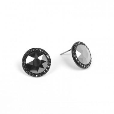 X | náušnice / kruhové s šedým kamínkem / černý tón