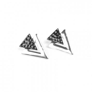 X | náušnice / zapadající trojuhelníček / černý tón