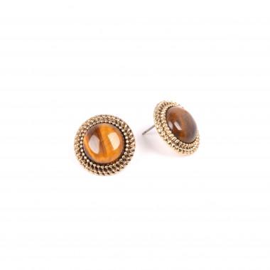 X   náušnice / zdobený medailonek s kamínkem / hnědý tón