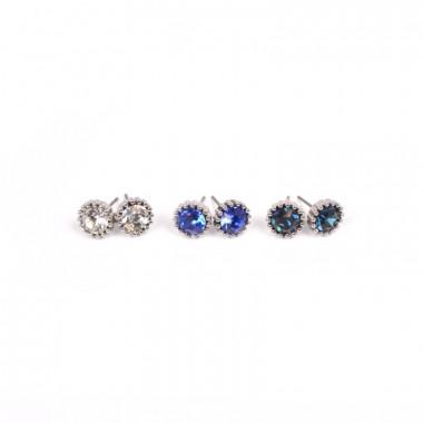 X | náušnice / zdobené kamínky / modrý tón / 3 páry