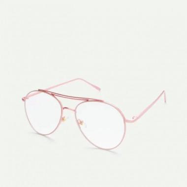 LUEUR Brýle s čirými skly pilotky růžové obroučky P259