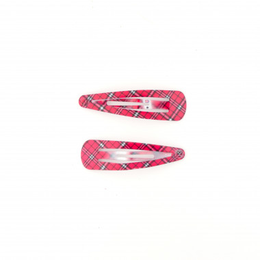 Prolamovačky do vlasů růžová károvaný design 5 cm / 2 ks