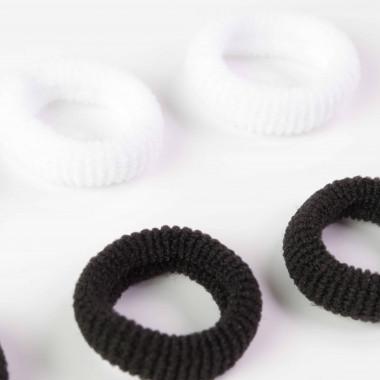 Gumičky do vlasů MINI bílá/černá 2 cm / 6 ks
