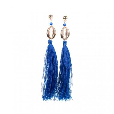Modré visací náušnice s mušličkou a třásněmi