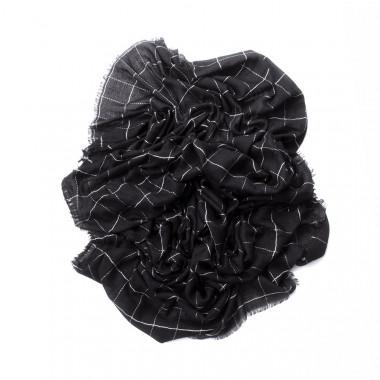 Šátek přes ramena s prošívaným desénem černý 180/100