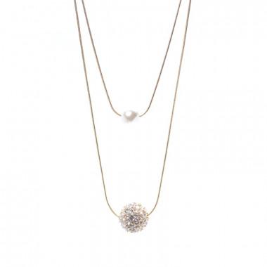 X | dvojí řetízek had s perličkou a kamínky / zlatý tón