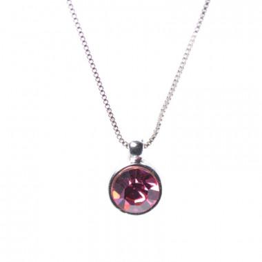 X | jemný řetízek venezia s růžovým kamínkem / stříbrný tón
