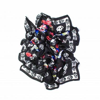 Dámský šátek přes ramena černý vzor lebky 180/90