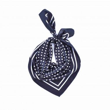Šátek na krk s puntíky černý style 70/70