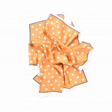 Šátek na krk zlatý s desénem puntíky 70/70