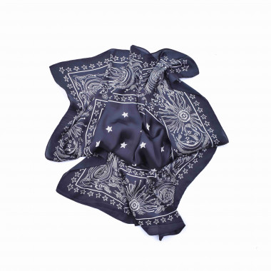 Šátek na krk černý s desénem Paisley 70/70