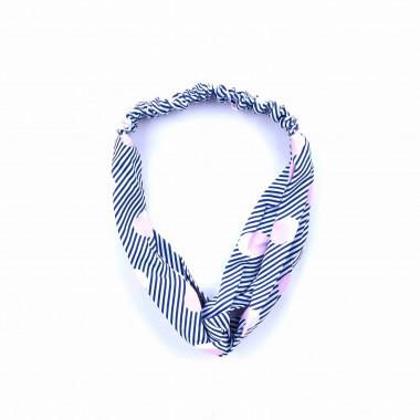 Šátková čelenka do vlasů s modrými pruhy