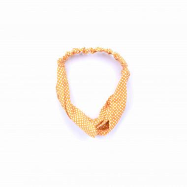 Šátková čelenka do vlasů s puntíky žlutá