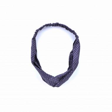 Šátková čelenka do vlasů s puntíky černá