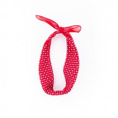 Bavlněný šátek s puntíky červený 55/55