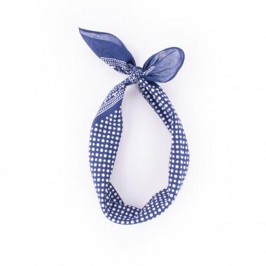 Bavlněný šátek s puntíky modrý 55/55