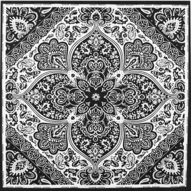 Pin-Up šátek paisley černý 59/59