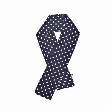 Slim šátek s desénem puntíčků černý 150/15