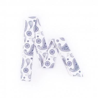 Slim šátek s desénem paisley bílý  200/5