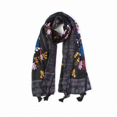 Dámský dlouhý tmavý šátek se vzorem 180/90