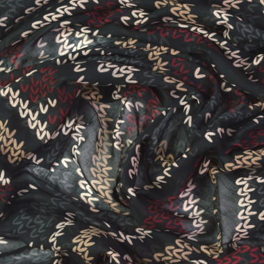 Dámský dlouhý šátek se vzorem a třásněmi 180/90
