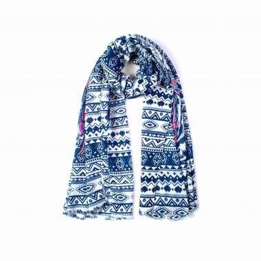 Dámský dlouhý modrý šátek se vzorem 180/90
