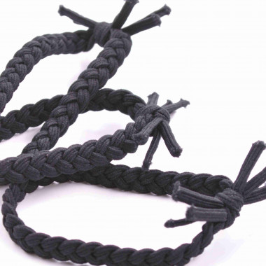 Gumičky do vlasů Boho černé 3 ks / 4 cm
