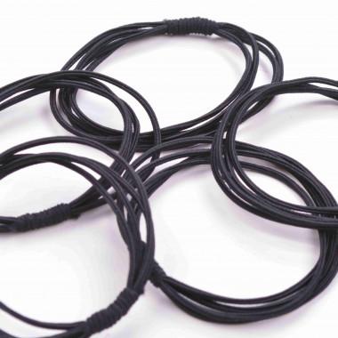 Gumičky do vlasů vázané nesmírně černé 5 ks / 5 cm