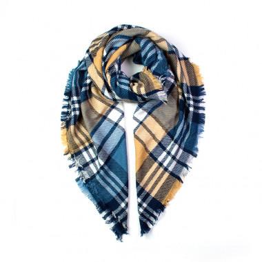 Maxi šála deka karovaný desén gold&blue  140/140