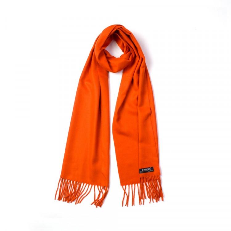 Fraas pánská šála z cashminku s třásněmi oranžová 186 28  38d11405c6