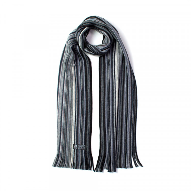 Fraas pánská vlněná šála s třásněmi pruhovaná šedá 180 25  1a9aaa3f7d