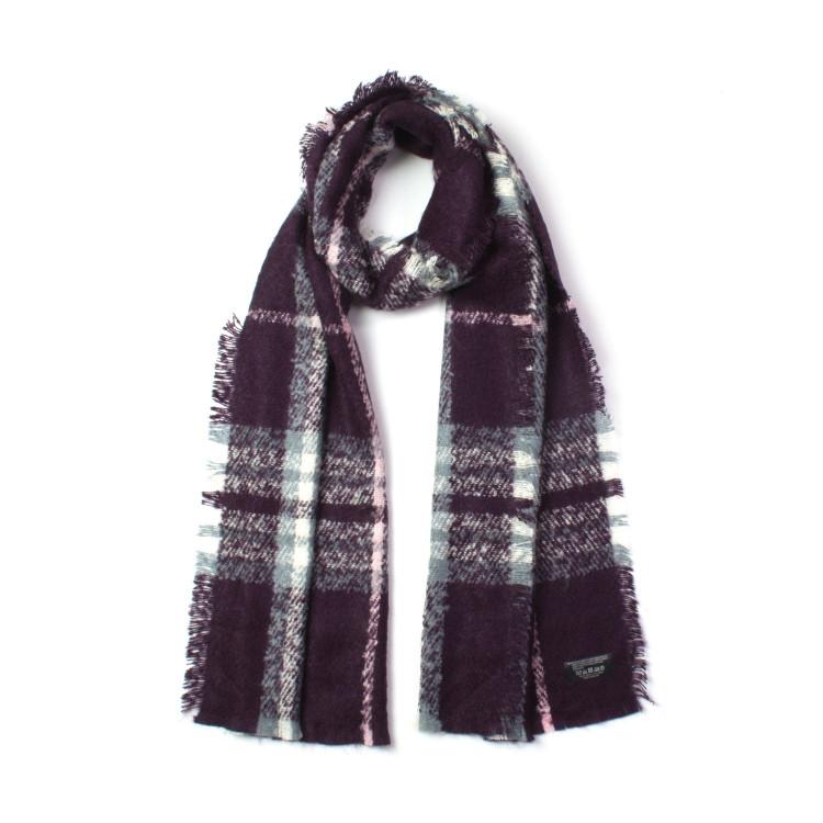 Fraas elegantní dámská šála zimní kostkovaná fialová 190 40  0df53f4b92