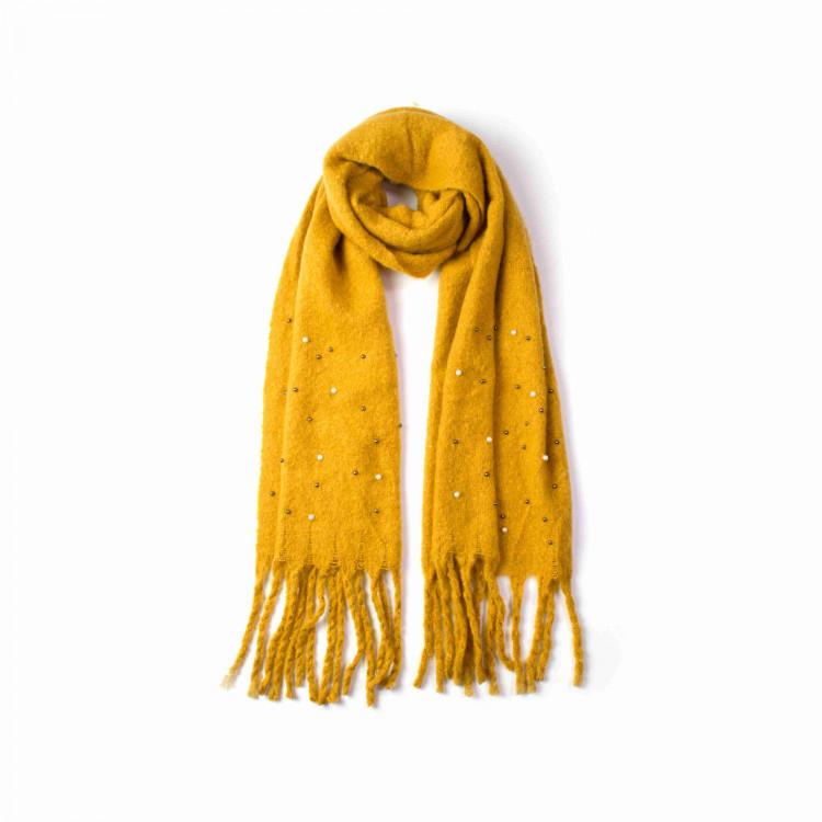 Zimní maxi šála s korálky žlutá 180 40  092e2355f3